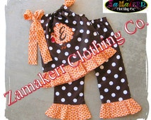 Custom Boutique Girl Fall Thanksgiving Turkey Outfit Clothing Personalized Pant Baby Pumpkin Set 3 6 9 12 18 24 month size 2T 3T 4T 5T 6 7 8