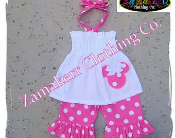 Custom Boutique Clothing Girl White Halter Top Pink Polka Dot Ruffled Pant Outfit Set 3 6 9 12 18 24 month size  2T 2 3T 3 4T 4 5T 5 6 7 8