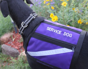SERVICE DOG Vest - Size Large - Purple - water proof - reflective - embroidered with Service Dog - Large service dog vest