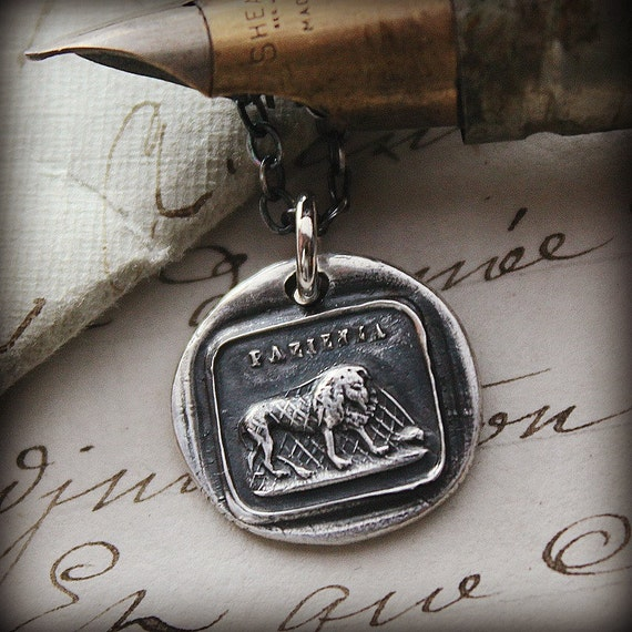 lion and the mouse wax seal necklace - Aesop Fable Pendant - Patience - IS210