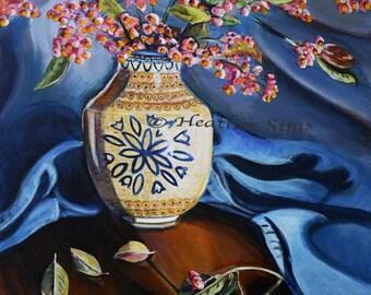 Polish Pottery Print Vase Floral Still Life Art Giclee, Wall Art Print, Floral Print,Heather Sims, blue orange art home decor