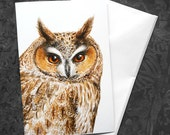 Owl Greeting Card - 5x7 inch card with envelope, blank inside, woodland bird owl art