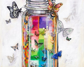 Butterfly Jar - Rally Them Hopes - 12X12 print - limited edition print