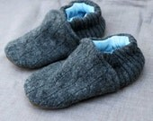 Gray Cable Knit Wool Kids Slippers Leather Bottom fits 2-3 years old made from recycled materials