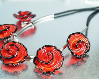 Pearly Red Flower Necklace - Lampwork Jewelry - Glass Bead Jewelry - Beadwork Jewelry - Elegant Jewelry - Chic Jewelry, jewelry supplies