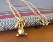 Gold Bunny Face Charm Necklace Vintage Style by Alice Wears Gold