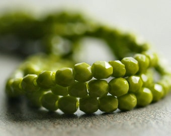 Czech Glass Bead Olive 3mm Faceted Round : 50 pc