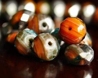 Autumn Eve Czech Glass Bead 11x7mm Rust Black Silver Faceted Rondelle : 10 pc Orange Silver donut