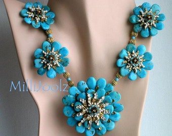 """Large Turquoise Centerpiece Necklace """"For Your Eyes Only""""."""