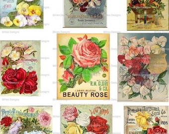 Vintage Seed Packet Backs Digital Download Seed Package Garden Gardening Mixed Media Scrapbooking Card Making Altered Art