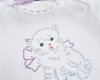 Orange or Grey Tabby  Kitty - Hand Embroidered Onesie (made to order any size)