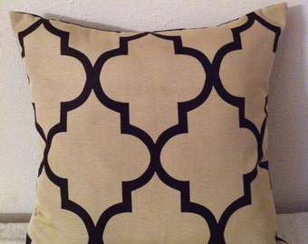 Decorative-Accent-Throw  Pillow Cover- 20 inch Geometric Fret Work Dark Mocha on Cream-Reversible-Free Domestic Shipping