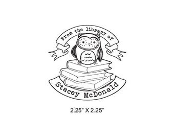 Cute Baby Owl Sitting on Books With Banners Personalized Ex Libris Bookplate Rubber Stamp M06