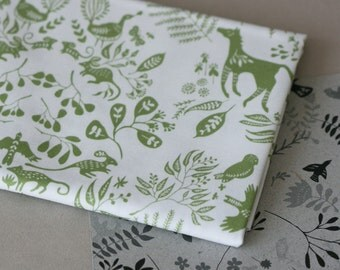 Snowy River Damask - Half Yard of Fabric - Spring Green on White