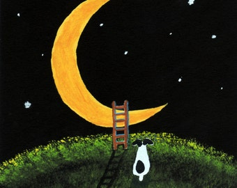 RAT Terrier Dog folk Art PRINT of Todd Young painting Ladder to the Moon