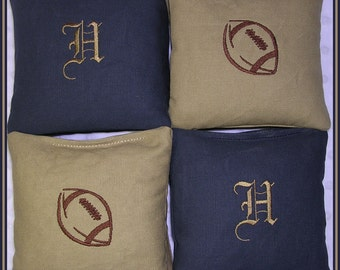 Cornhole Bags Tailgating Game Personalized Navy and Tan Football Set of 8 Bags