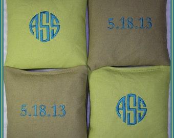 Personalized Cornhole Bags Light Green and Tan Set of 8 Circle Monogram