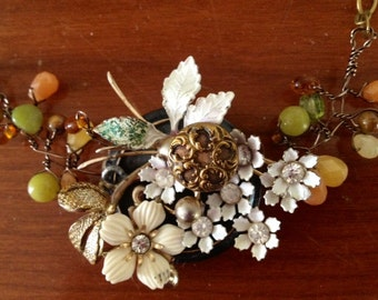 Collage Vintage Flower Brooch Button Stone Upcycled Wire Wrapped Modern Necklace