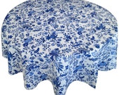French Country Tablecloth, Provence Tablecloth, Blue and White Tablecloth, Round Tablecloth