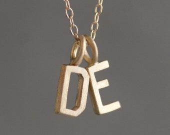 Double Block Letter Initial Necklace in 14k Gold