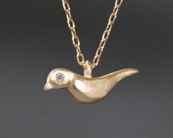 Bird Necklace in Brass with Gemstones