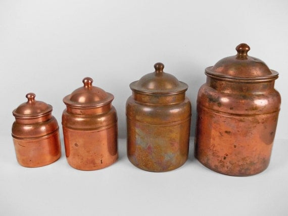 Vintage copper canister set kitchen storage for Kitchen set vintage