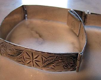 Sterling Silver Four Panel Engraved Flowers Leaves Bracelet