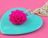Heart & Chrysantemum Flower Necklace - Pink and Mint Large Pendant