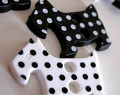 Buttons Scottie Dog set of 2 in Black and White Polka Dots
