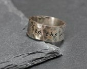 Personlized Sterling Silver Hammered Ring