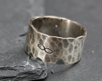 Large Hammered Ring, Sterling Silver Hammered Ring for Men or Women