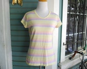 Vintage 1970's early 1980's striped cotton t shirt. size M