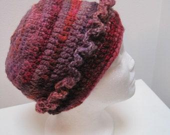 "purples cap, crocheted cap, handspun wool cap, pink hat, feminine hat, womans hat, winter hat ""what a frill"""