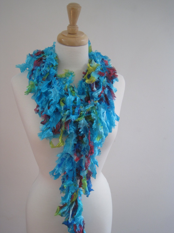 turquoise boa ribbon scarf scarf turquoise scarf