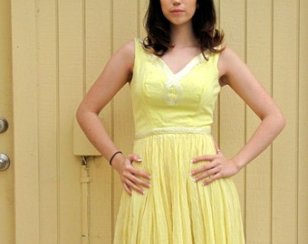 Vintage 60s yellow party dress/ Mad Men style