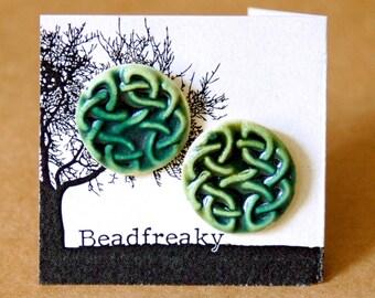 Handmade Ceramic Post Earrings - Celtic Knot Studs in Moss Green