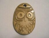 Owl pottery clay pendant tag HANDMADE