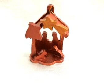 Nativity, Christmas nativity ornament, holy family made of olive wood hand carved in  BETHLEHEM, HOLYLAND