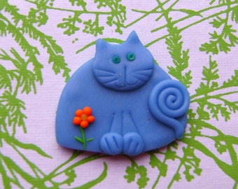 Polymer Clay Blue Happy with orange flower Cat Brooch or Magnet