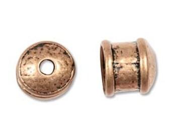 2 12 x 11mm Antique Copper Cord End Cap Findings 38290