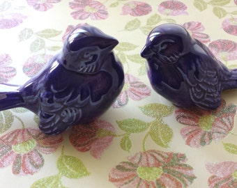 Purple Wedding Cake Topper Ceramic Birds