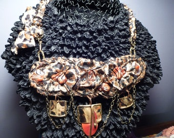 A Bit On the Wild Side Leopard Print Silk Sari Ribbon Hand Crochet Pendant Necklace with Beads, Shells, Chain, Unusual Design