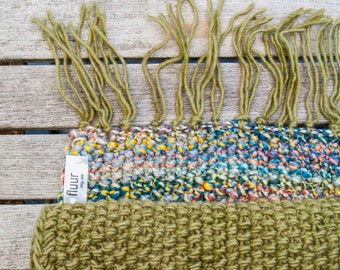 handknit scarf / TAREK // bordeaux red  winter sports   olive green   ski hill  dove blue  sage green   ooak