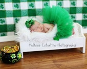 St. Patty's Green Tutu and Headband Set, Girls Tutu and Mini Hat Headband for St. Patrick's Day, Little Leprechaun, Custom Sewn 6'' Tutu