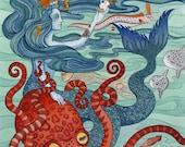 "Mermaid Octopus Archival Art Print 8""x10"""