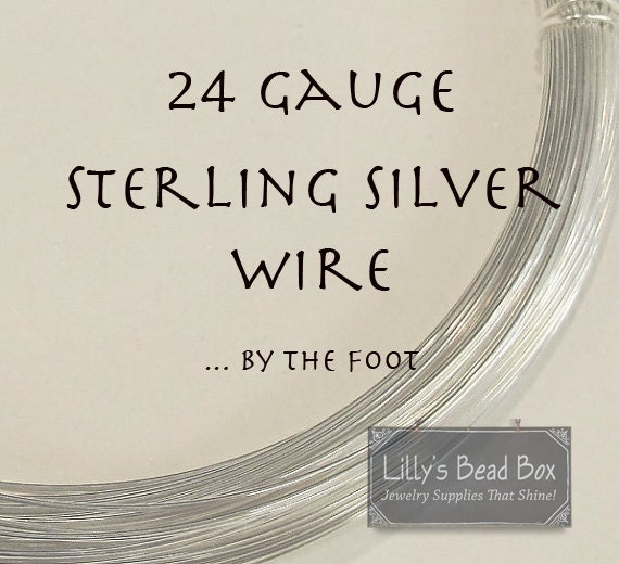 24 Gauge Wire, Sterling Silver Wire - By The Foot, Round, Half Hard Wire, Wire Wrapping Supplies for Gemstones, Beads and Jewelry