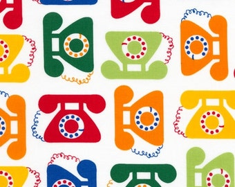 "Ann Kelle's new line, ""This and That"", Retro Antique Telephones in Bright, 1/2 yard"