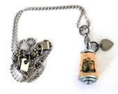 Wedding Photographer Gift | Camera Necklace - Custom With Stamped Heart Initial, Photographer Necklace, Vintage Camera on Upcycled Cork