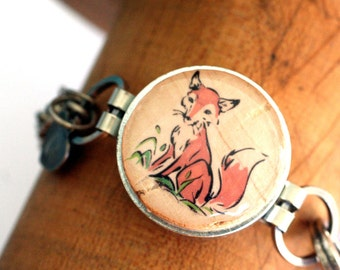 Fox Metal Bracelet - Fox Jewelry, Wine Cork Jewelry, Recycled Steel Bracelet, Red Fox, Gift, Stamped Initial Charm, Girlfriend - Uncorked