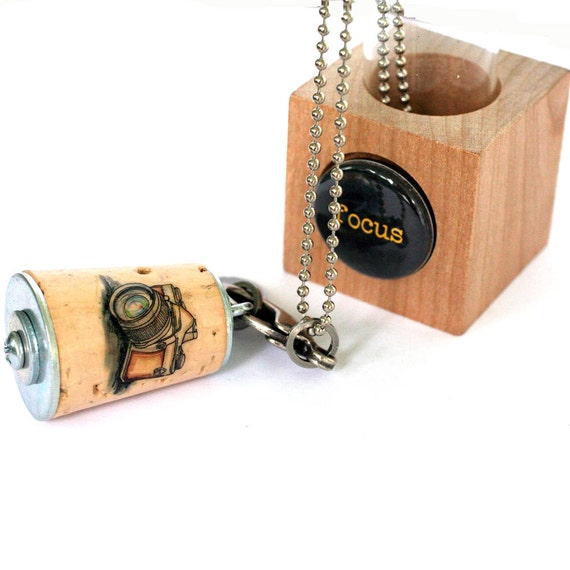 Photographer Necklace - Vintage Camera Necklace, Focus, Stamped Metal Initial, Custom, Recycled, Test Tube, Wedding Photog Gift - Uncorked